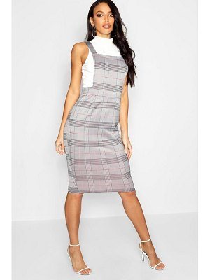 Boohoo Dogtooth Midi Pinafore Dress