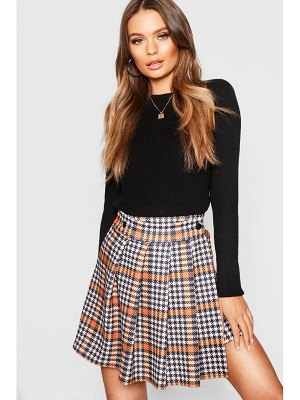 Boohoo Dogtooth Pleated Wrap Mini Skirt