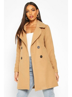 Boohoo Double Breasted Collared Wool Look Coat