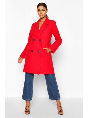 Boohoo Double Breasted Slim Fit Wool Look Coat