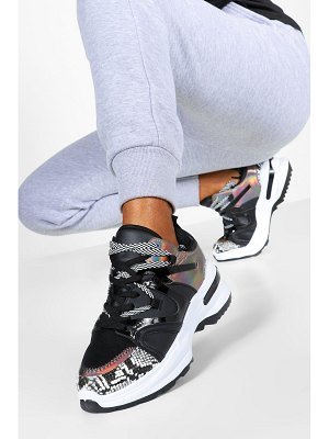 Boohoo Double Lace Contrast Chunky Sneakers