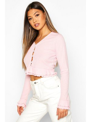 Boohoo Double Lettuce Hem Ribbed Button Up Top