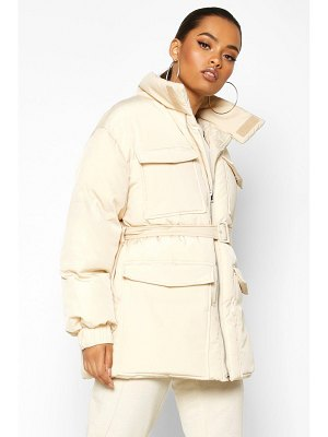 Boohoo Double Pocket Belted Utility Puffer