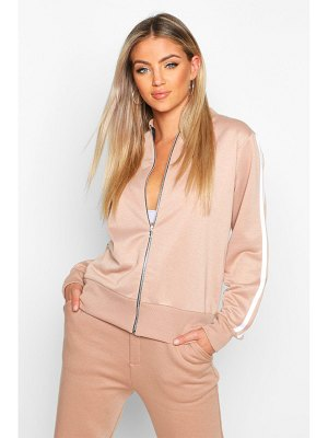 Boohoo Double Side Stripe Loopback Bomber Jacket