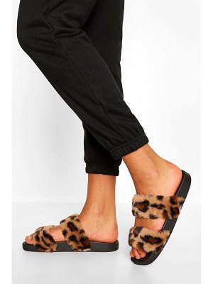 Boohoo Double Strap Faux Fur Slider