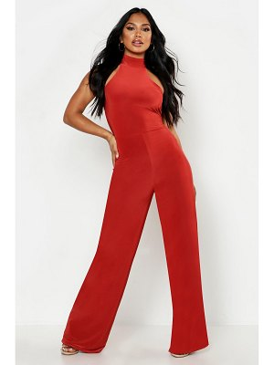 Boohoo Double Up Halterneck Wide Leg Jumpsuit