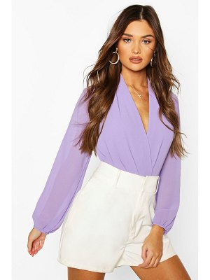 Boohoo Drape Chiffon Long Sleeve Woven One Piece