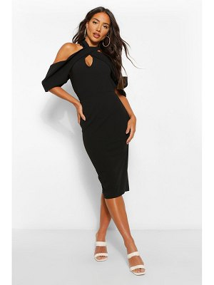 Boohoo Draped Shoulder Halterneck Midi Dress