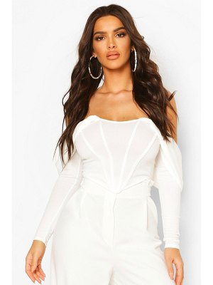 Boohoo Draped Sleeve Boned Corset Top