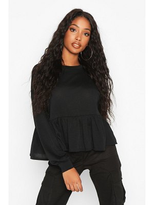 Boohoo Drop Hem Long Sleeve Sweat Top