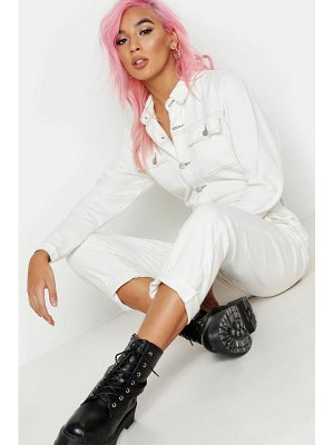 Boohoo Ecru Utility Pocket Contrast Stitch Denim Boilersuit