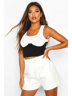 Boohoo Elasticated Waist Leather Look Shorts