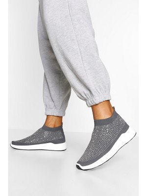 Boohoo Embellished Knitted Sock Sneakers