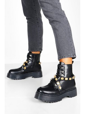 Boohoo Embellished Strap Chunky Sole Hiker Boots