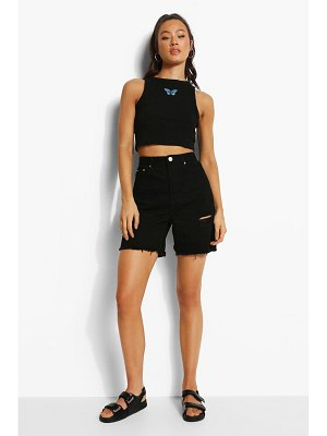 Boohoo Embroidered Butterfly Racer Crop Top