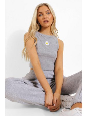 Boohoo Embroidered Daisy Racer Crop Top