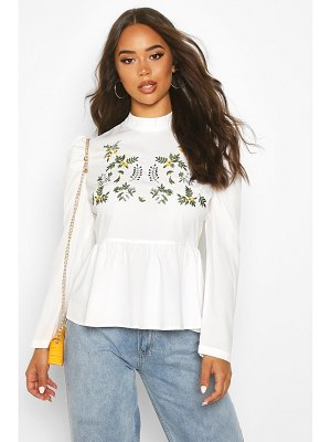 Boohoo Embroidered High Neck Puff Sleeve Peplum Top
