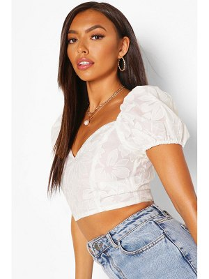 Boohoo Embroidered Organza Puff Sleeve Crop Top