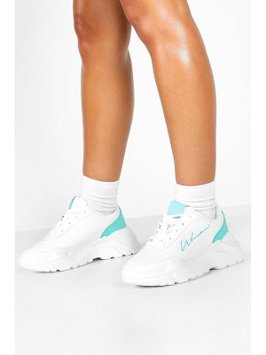 Boohoo Embroidered Woman Slogan Chunky Sneakers