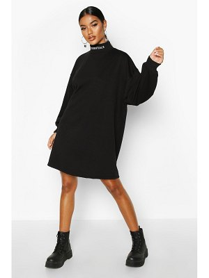 Boohoo Essentials Embroidered Funnel Neck Sweat Dress
