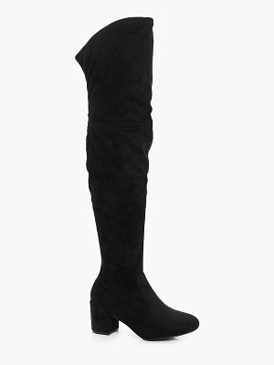 Boohoo Extra Wide Width Block Heel Over The Knee Boots