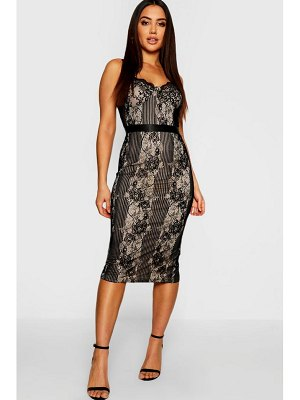 Boohoo Eyelash Lace Detail Midi Dress