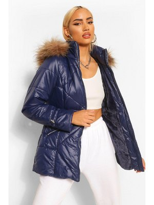 Boohoo Faux Fur Trim Hooded Quilted Puffer Coat