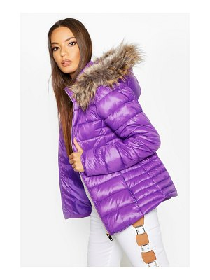 Boohoo Faux Fur Trim Quilted Puffer
