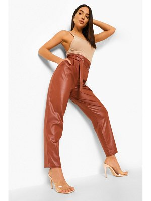 Boohoo Faux Leather Belted High Waist Pants