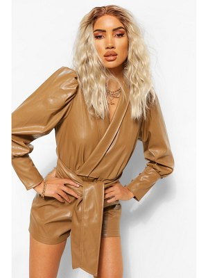 Boohoo Faux Leather Pu Wrap Belted Romper
