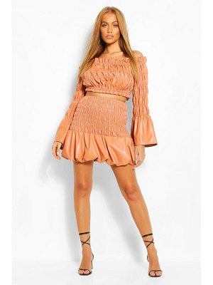 Boohoo Faux Leather Shirred Skirt