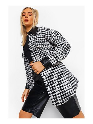 Boohoo Faux Leather Trim Dogtooth Shacket