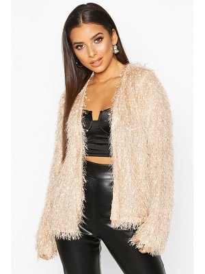 Boohoo Feather Knit Cardigan