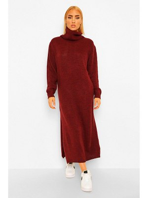 Boohoo Fine Gauge Turtleneck Midaxi Sweater Dress