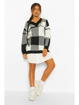 Boohoo Flannel Oversized 2 In 1 Sweater Dress