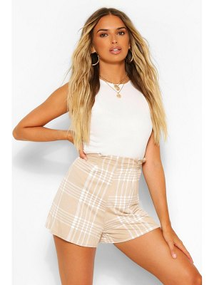 Boohoo Flannel Print Pleat Front Jersey Tailored Shorts