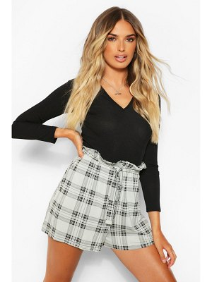 Boohoo Flannel Printed Belted Jersey Shorts