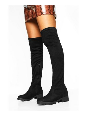 Boohoo Flat Cleated Knee High Boots