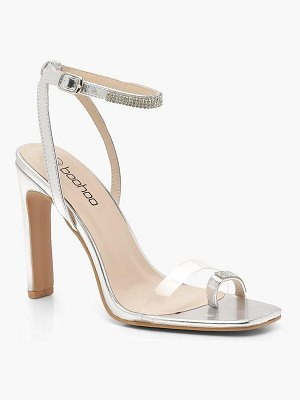 Boohoo Flat Heel Clear and Diamante Sandals