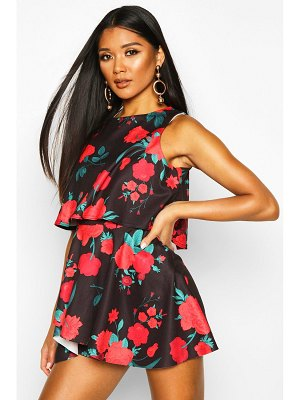 Boohoo Floral Double Layer romper Dress