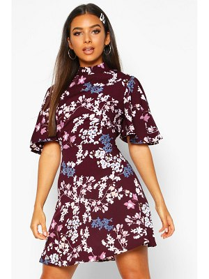 Boohoo Floral High Neck Flared Sleeve Skater Dress