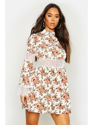 Boohoo Floral Lace Insert Skater Dress