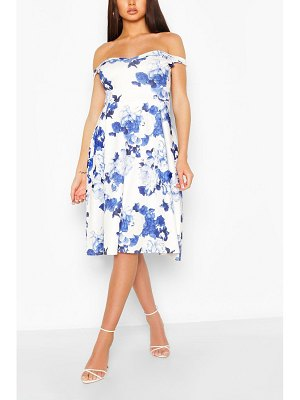 Boohoo Floral Off Shoulder Midi Skater Dress
