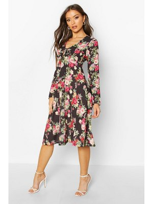 Boohoo Floral Print High Neck Floral Midi
