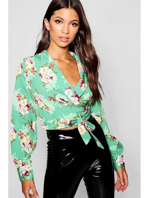 Boohoo Floral Print Lapel Collar Wrap Crop Top
