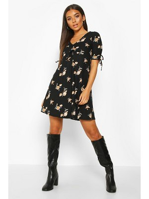 Boohoo Floral Print Rouched Tie Sleeve Swing Dress
