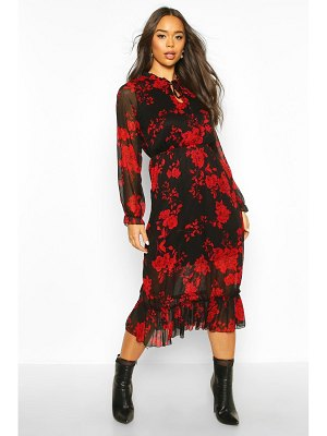 Boohoo Floral Print Ruffle Neck Midaxi Dress