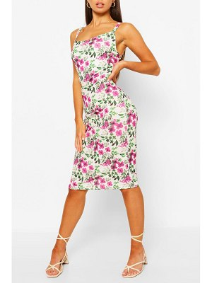 Boohoo Floral Print Strappy Midi Slip Dress