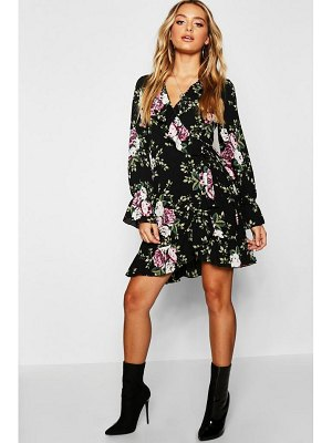 Boohoo Floral Ruffle Detail Tea Dress