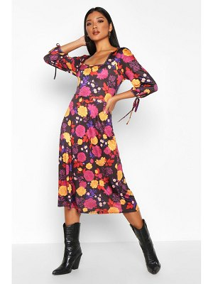 Boohoo Floral Square Neck Tie Sleeve Midi Skater Dress